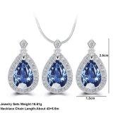 Conjunto africano de la joyería de la gota cristalina azul del agua de la manera