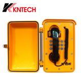 Zwarte het muur-Onderstel van de Telefoon van het Bewijs van het Stof van de Telefoon van de Kabel van de Krul Bestand Industriële Telefoon Op hoge temperatuur knsp-01t2j