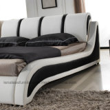 Un554 Fancy Europa dormitorio cama doble de cuero de diseño