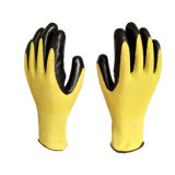 13G Zebra-Stripe polyester jaune de gants en nitrile