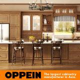 Gabinetes de cozinha tradicionais da madeira de carvalho de Oppein Brown (OP15-S09)