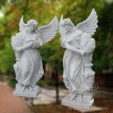 Bella signora di angelo del grande doppio di qualità della scultura della statua di marmo della decorazione del giardino