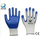 нитрил белой раковины полиэфира 13G голубой покрыл перчатки работы безопасности