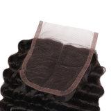 Il nuovo arrivo impacchetta parti seriche dell'arricciatura del merletto brasiliano dei capelli di Remy del Virgin le due del Toupee profondo delle donne
