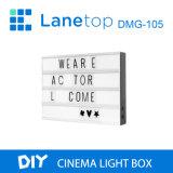 Contenitore chiaro cinematografico sottile personalizzabile di casella chiara di notte della scheda di messaggio di A3 LED con le lettere di DIY