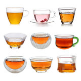زجاجيّة قهوة أو شاش [درينك غلسّ] يثبت مزدوجة جدار حراريّة يعزل فناجين مع مقبض
