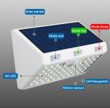 옥외 방수 안전 벽 램프 66 LED 높은 루멘 정원, 안뜰, 야드를 위한 3개의 최빈값을%s 가진 태양 강화된 PIR 운동 측정기 빛