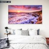 Olieverfschilderij van de Zonsondergang van het Beeld van de Muur van de kust het Mooie