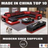 Grande sofà moderno del cuoio genuino di figura di formato U per il salone (LZ-3316)