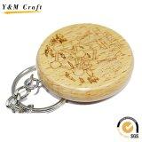 목제 새기는 Keychain 나무로 되는 새겨진 열쇠 고리 키 홀더 열쇠 고리