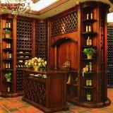 別荘の大きい徳利立ての木製のワインのキャビネットの記憶ラック(GSP19-012)