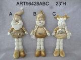 Décoration restante Gift-3asst. de Noël de Santa, de bonhomme de neige et de renne