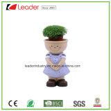 Polyresin Nova adorável garota Figurine com vasos de decoração de jardim