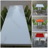 Mobília de restaurante Mesa redonda de pedra artificial artificial com logotipo