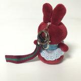 Brinquedo feito sob encomenda animal enchido macio de Keychain do presente do coelho do luxuoso de Borgonha