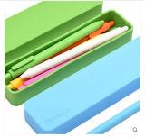 Rectangulaire décoratif promotionnel Logo personnalisé Écoles et bureaux revêtus Étui à papeterie en silicone Étui à stylo