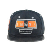 Custom с вышитым хип-хоп Red Hat 6 черного цвета панели PU с передней крышки блока цилиндров