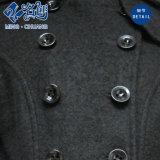 Черный Newstyle Double-Breasted Turndown-Collar Long-Sleeve кармана Slimmering-Waist дамы нанесите на