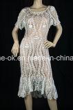 Il modo lavora a mano il vestito da cerimonia nuziale del randello della spiaggia di sera del partito del Crochet