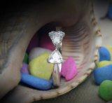 Zircon brillante del anillo de bodas de las mujeres del laminado del platino