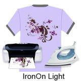 Ferro-no papel de transferência térmica da luz do Inkjet para a roupa