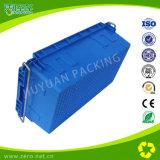 Caixa de plástico logística rígida empilhável com alça de ferro