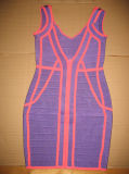Sleeveless Brücke der Frauen mit tiefem V - Stutzen-Backless Pinsel-Verband-Kleid