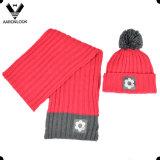 Patrón de punto acanalado Invierno de punto sombrero de la bufanda con la etiqueta tejida