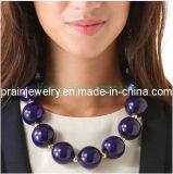La joyería de moda de verano/ 2013 de cristal acrílico morado Collar de perlas de rebordeado Rhinestone Marina Gran Collar Ecológico (PN-081)