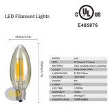 ampoule d'éclairage LED de 2With3With5With8W C35 pour le boîtier, espace libre ambre