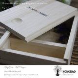 Doos van het Album van de Foto van het Embleem van de Douane van de Dag van het Huwelijk van Hongdao de Houten met Verpakking USB voor Gift _E