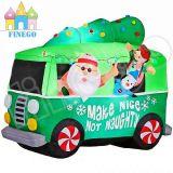 Weihnachten aufblasbarer Weihnachtsmann, der Snowmobile-Pferdeschlitten-Schlitten fährt