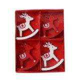 Decoración de madera S/4 de la tapa de vector de los ciervos del balanceo de la Navidad en existencias