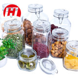 Ясный опарник хранения еды/стеклянный опарник с зажимом металла