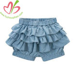 Le design de mode Jeans Denim Ruffles Girl Dress jupe pantalon