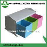 Mobília de madeira do gabinete de armazenamento dos miúdos com a gaveta 3 (W-BB-2906)