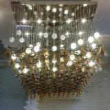 Fogli solidi dello schermo e dell'acrilico della sfera di vetro della bolla dell'ingresso con il lampadario a bracci della maglia di griglia del metallo