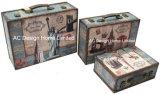 S/3 оформлены старинной Vintage Classic Эйфелевой Башни дизайн печати фиолетового цвета кожи/MDF деревянные окна чемодан для хранения данных