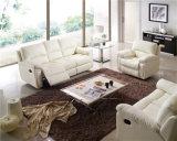 Wohnzimmer-Sofa mit dem modernen echtes Leder-Sofa eingestellt (896)