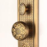 Liga de zinco de luxo Cilindro único Conjunto de acabamento de trava de alça de morcego em bronze amarelo antigo
