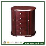 Alta calidad de madera con el rectángulo de joyería del almacenaje del espejo