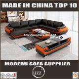 Parte superior em pele moderna sala de estar com sofá Ottoman