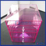 Organizador acrílico da composição da cor cor-de-rosa feita sob encomenda quente da venda com gavetas