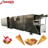 Cone de gelado rolado automático cheio do açúcar que faz a máquina