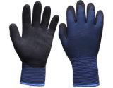 Голубой полиэфир вне раковины, серого Терри почищенного щеткой внутрь, связанные работая перчатки покрынные с черным нитрилом Sandy на ладони (N1611)