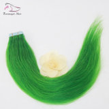 De Groene Band van de Jade van de kleur in de Band van de Uitbreidingen Pu van het Haar in Recht Menselijk Haar Remy