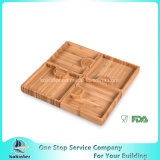 Simo de bambú - placa de bambú del bambú de la placa de la bandeja del bocado Nuts de múltiples funciones del aperitivo del rompecabezas