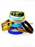 Bandes de silicone personnalisé avec logo gravé, personnalisé Bracelet en silicone (BS-006)