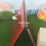 4mm redondo rojo Portavelas de espejo de vidrio biselado