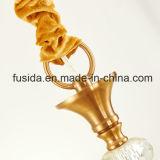 白および金ファブリック陰D-6017/3が付いているアラビアの青銅色のシャンデリアライト